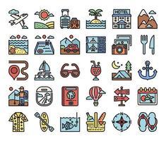 vacanza colore contorno icone vettoriali