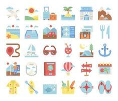vacanze icone vettoriali piatte