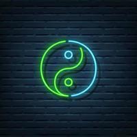 insegna al neon di yin yang vettore