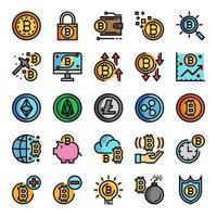 icone perfette pixel linea colore criptovaluta vettore