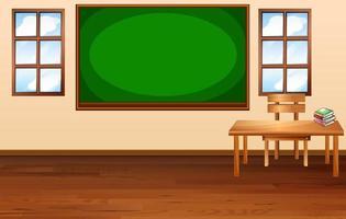 scena in aula vuota con lavagna vuota vettore