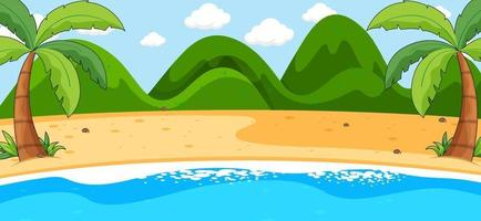 scena di paesaggio spiaggia vuota con montagne vettore