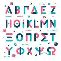 Alfabeto greco stile memphis