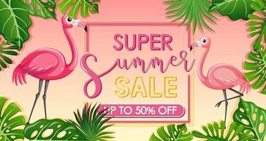 banner di vendita super estiva con fenicottero e foglie tropicali vettore