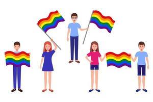 insieme del fumetto di vettore delle illustrazioni con le persone che tengono le bandiere arcobaleno della comunità lgbt