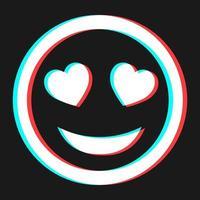simbolo di emoticon di sorriso del fumetto, icona in effetto 3d con colore blu e rosso vettore
