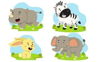 set di simpatici animali in stile cartone animato vettore