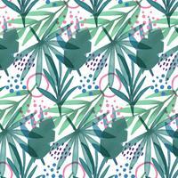 Carino modello tropicale con foglie, rami e forme geometriche vettore