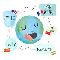 Carattere del pianeta dell'acquerello con il fumetto con diverse lingue vettore
