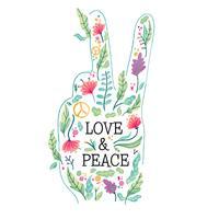 Mano di forma di pace dell'acquerello piena di fiori
