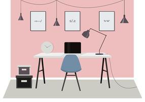 Illustrazione della stanza dell'ufficio di vettore