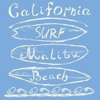 tavole da surf california malibu su blu vettore