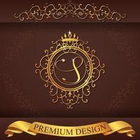 alfabeto araldico oro premium design s vettore