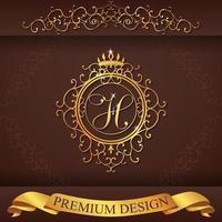 alfabeto araldico oro design premium h vettore