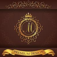 alfabeto araldico oro design premium m vettore