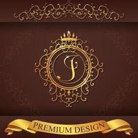 alfabeto araldico design premium oro j vettore
