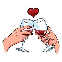 mani di amanti con bicchieri di vino. carta di San Valentino. vettore