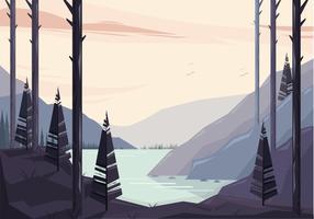 vettoriale bellissima illustrazione di paesaggio