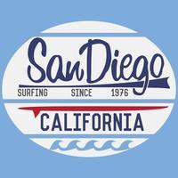 t-shirt stampa design, grafica tipografica estate illustrazione vettoriale distintivo applique etichetta california san diego segno