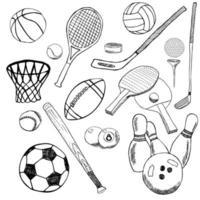 schizzo disegnato a mano di palline sportive con baseball, bowling, tennis, calcio, palline da golf e altri articoli sportivi. disegnare elementi scarabocchi. raccolta, isolato su sfondo bianco vettore