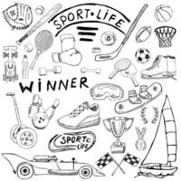 schizzo di vita sportiva doodles elementi. set disegnato a mano con mazza da baseball, guanto, bowling, articoli da tennis da hockey, auto da corsa, medaglia di coppa, boxe, sport invernali. collezione di disegni, isolato su sfondo bianco vettore