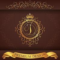alfabeto araldico design premium oro d vettore
