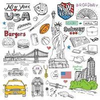 la città di New York scarabocchia gli elementi. set disegnato a mano con, taxi, caffè, hot dog, statua della libertà, broadway, musica, caffè, giornale, museo, central park. disegno collezione doodle, isolato su bianco vettore