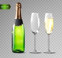 bottiglia di champagne e bicchieri di champagne su sfondo trasparente. illustrazione vettoriale. vettore