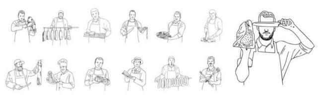 il macellaio maschio taglia la carne. vettore. vettore