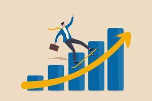 uomo d & # 39; affari leader della società che guida lo skateboard velocemente sul diagramma grafico del profitto in aumento vettore