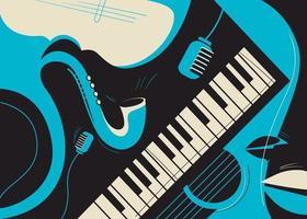 modello di banner con sassofono e pianoforte. vettore