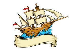Illustrazione della nave dell'annata sul mare vettore