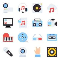 pacchetto di icone piatte multimediali vettore
