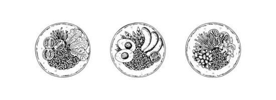 set di ciotola disegnata a mano con cereali e insalata. illustrazione vettoriale in stile schizzo