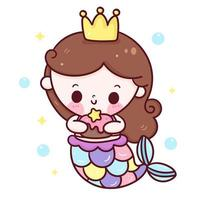 mermaid princess cartoon holding torta di compleanno kawaii animale vettore