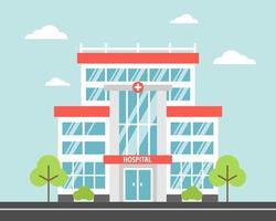 ospedale, una moderna struttura medica cittadina. immagine vettoriale in uno stile cartone animato piatto