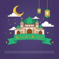 monoline cartoon ramadan kareem ornamento con colori brillanti illustrazione vettoriale. moschea e mese linea tracciata semplice. sfondo eid mubarak vettore