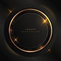 sfondo astratto oro e cerchio nero. anelli d'oro con effetto bagliore di lusso. vettore