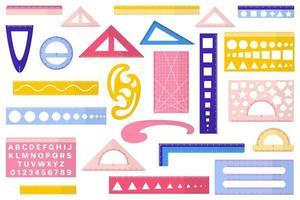 serie di illustrazioni vettoriali di cartone animato con diversi tipi di righelli su sfondo bianco