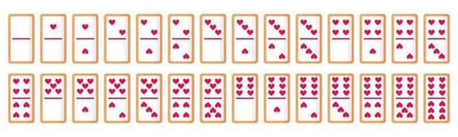 set di 28 biscotti di ossa di domino con cuori per san valentino. disegno dell'icona piatto vettoriale isolato su sfondo bianco.