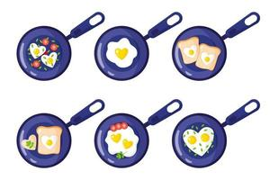 colazione di san valentino in padella toast, uova strapazzate, frittata a forma di cuore. vettore
