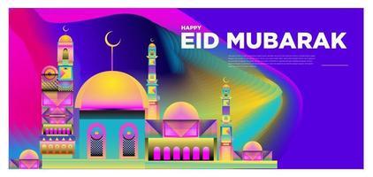 vettore banner colorato biglietto di auguri islamico e mubarak