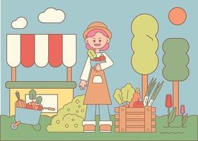 una donna che indossa un grembiule vende frutta e verdura fresca. illustrazione di vettore minimo di stile di design piatto.