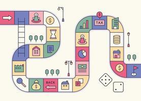 modello di concetto di gioco di indicazioni stradali. le icone finanziarie sono collocate in ogni cella. illustrazione di vettore minimo di stile di design piatto.