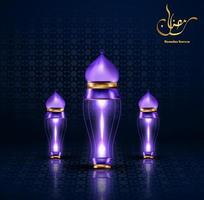 biglietto di auguri di ramadan kareem con lanterna lampada vettore