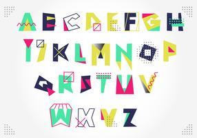 Vettore variopinto artistico di alfabeto di stile di Memphis