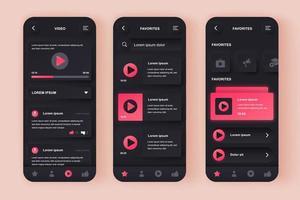 kit di progettazione di app mobili neomorfiche unico per tubo video vettore