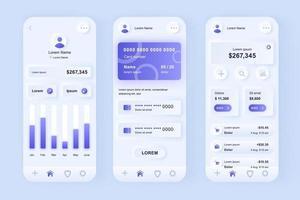 kit di progettazione di app mobili neomorfiche unico per l'online banking vettore