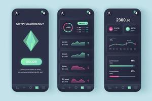 kit di progettazione di app mobili neomorfiche unico per l'estrazione di criptovaluta vettore