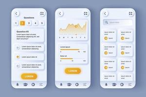 piattaforma di apprendimento online kit di progettazione di app mobili neomorfiche unico vettore